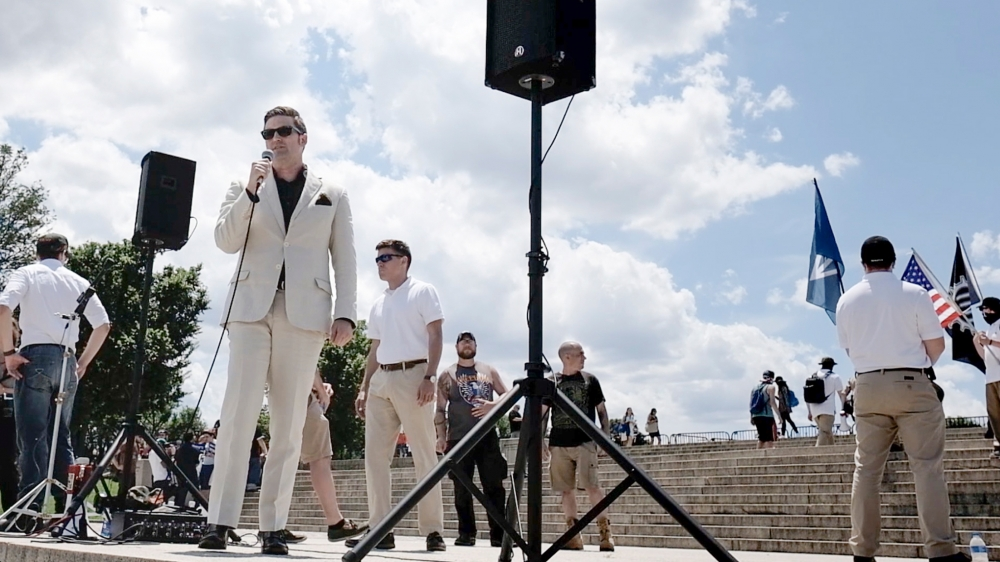 Richard Spencer talar vid en demonstration vid Abraham Lincoln Memorial i Washington D.C.