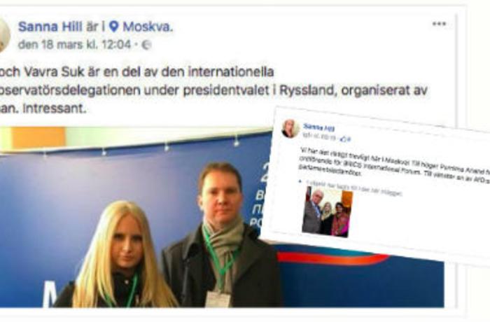 Sanna Hill från Nya Tider skriver på Facebook att hon och hennes chefredaktör var på plats i Moskva för att bevaka det ryska presidentvalet: