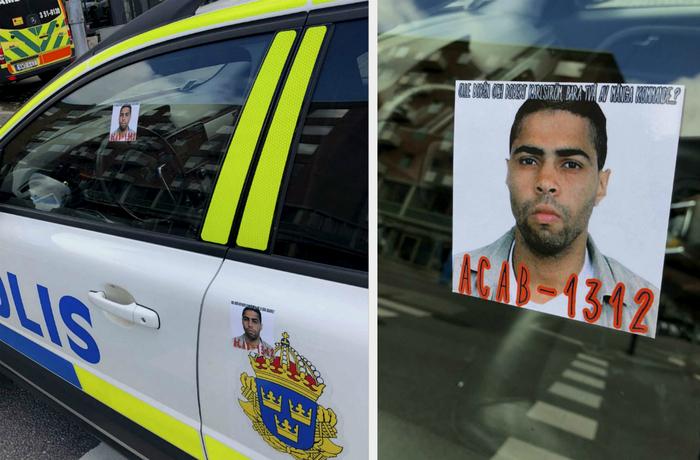 Klistermärken med hot mot poliser.