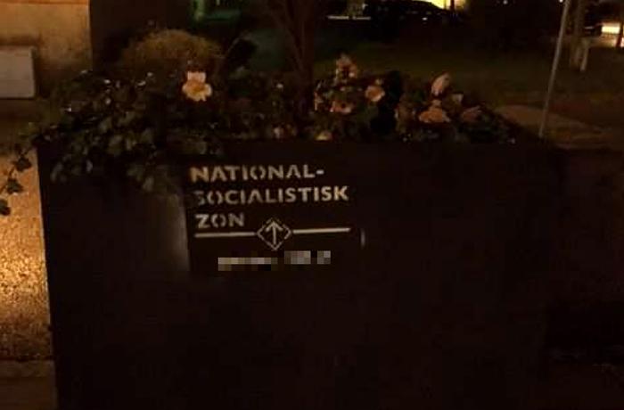 Nazistiskt klotter i Strängnäs.