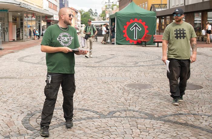 Nordiska motståndsrörelsen håller valmöte i Ludvika 2018.