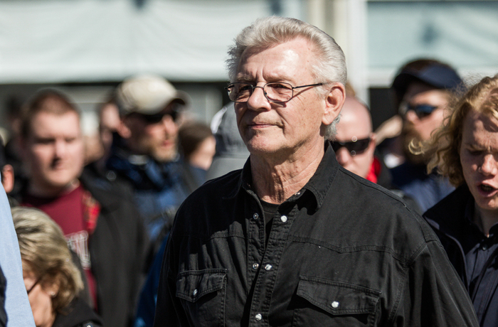 Bo Nilsson under Nordiska motståndsrörelsens demonstration i Falun 2017.