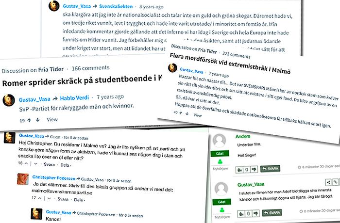 Kollage av användaren Gustav_Vasas kommentarer på Nordfront och Fria tider.