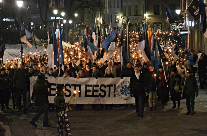 Ekre, Estland, Blått uppvaknande, Estlands självständighetsdag, fackelmarsch