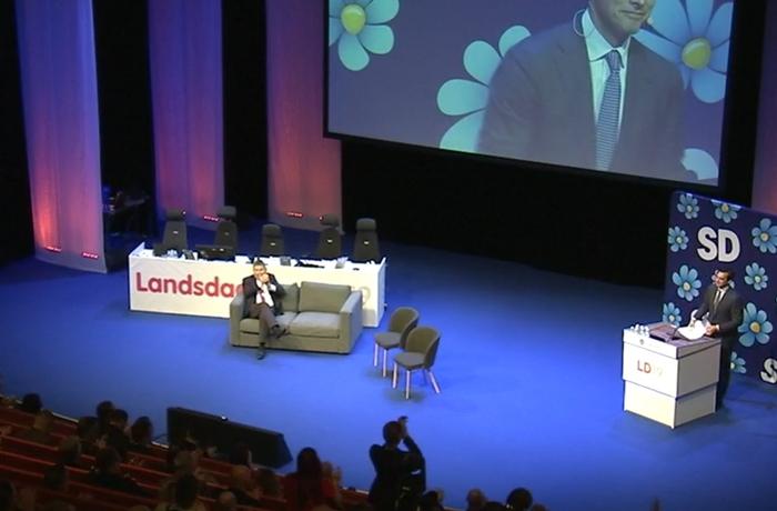 Thierry Baudet höll ett bejublat tal på Sverigedemokraternas landsdagar.