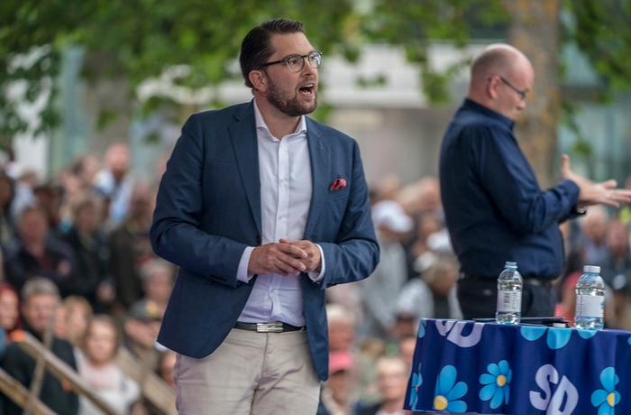 Jimmie Åkesson håller sitt årliga Almedalstal i Visby 7 juli 2018.