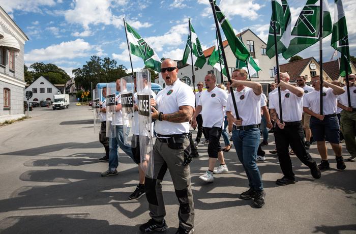 Nordiska motståndsrörelsen demonstrerar i Almedalen 6 juli 2018 för att sedan avsluta med ett torgmöte.