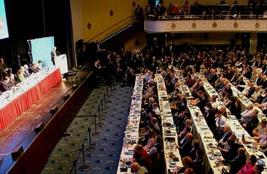 AFD vid ett partikonvent 2017.