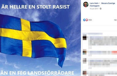 "SD-politikern Lars Heins inlägg i Facebookgruppen ""Bevara Sverige homogent""."