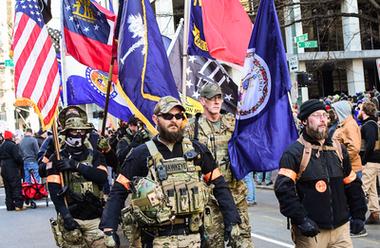 Demonstration för rätten att bära vapen i Richmond, Virginia USA, januari 2020