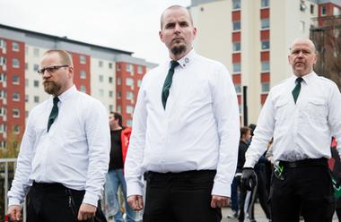 Nordiska motståndsrörelsen demonstrerar i Borlänge 2016.