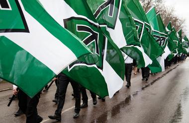 Nordiska motståndsrörelsen demonstrerar i Borlänge.