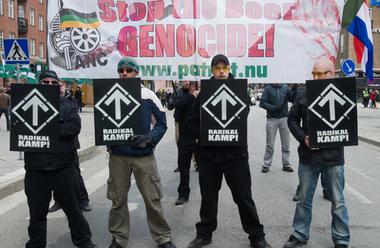 Svenska motståndsrörelsen demonstrerar för Sydafrika
