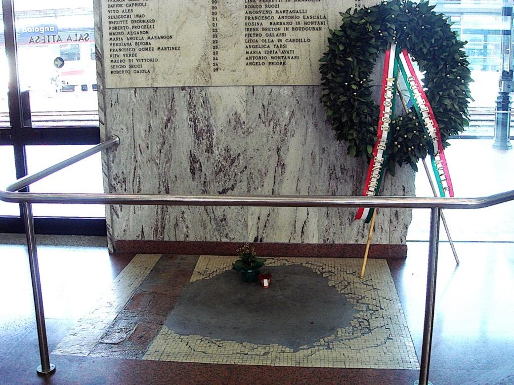 Monumentet för de 85 dödsoffren i det högerextrema terrordådet i Bologna 1980.