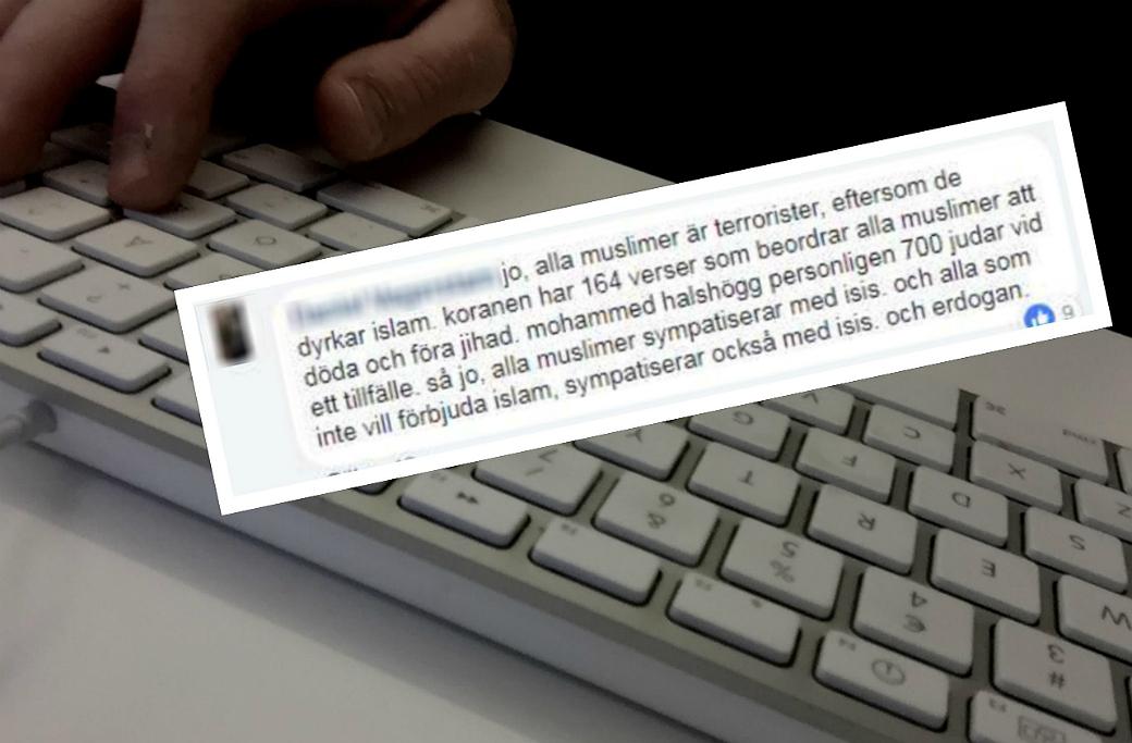 42-årig man dömd för att på Facebook ha hetsat mot muslimer.