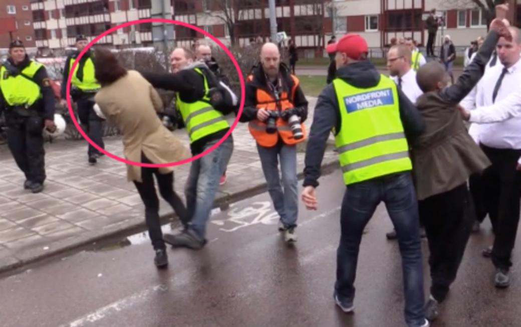 Nordiska motstandsrorelsen i stockholm polis misshandlad