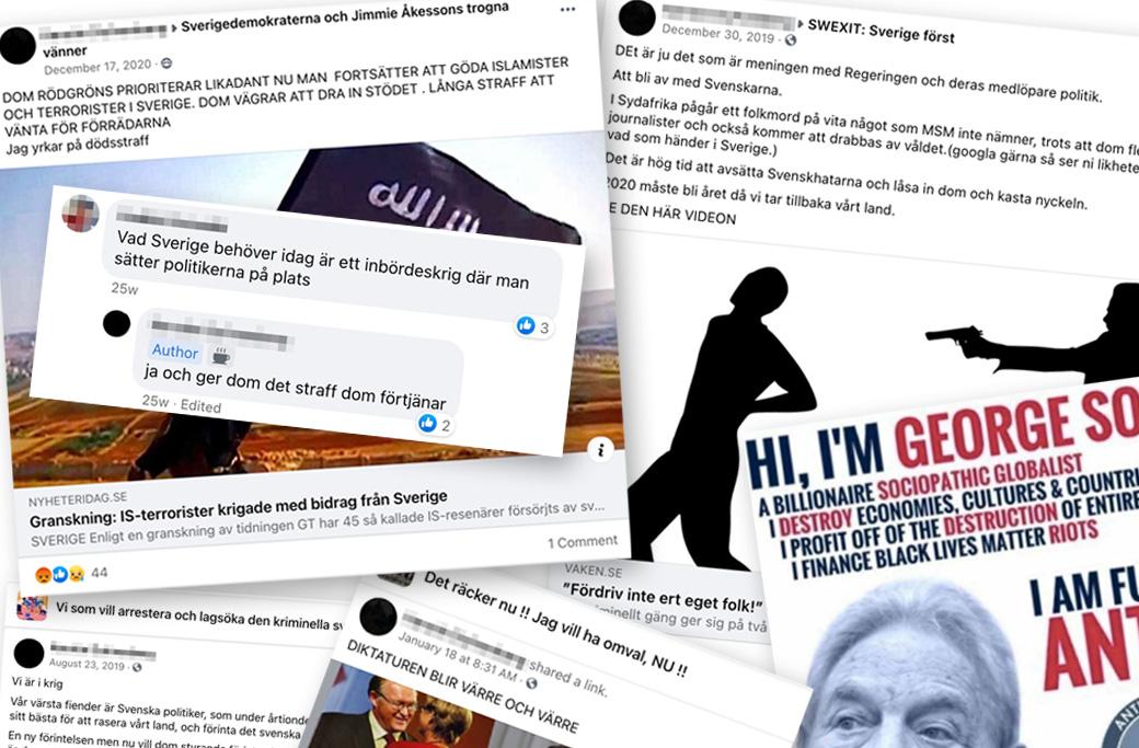 Exempel på SD-politikerns delningar på sociala medier