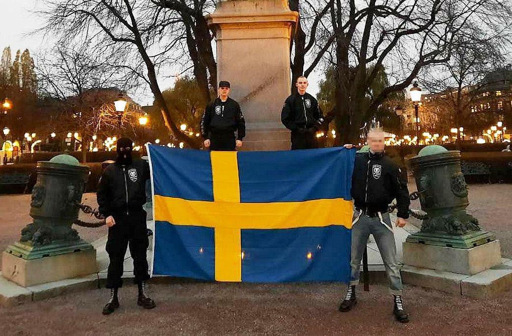 NS Skinheads under manifestation i Stockholm 2020