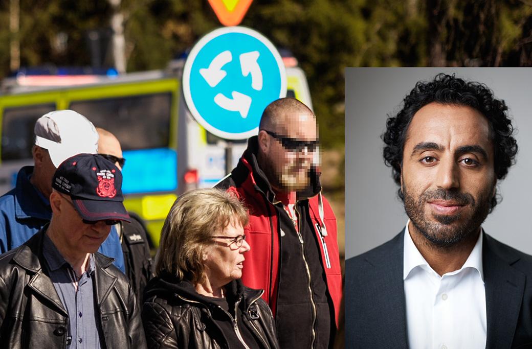 Den misstänkte 35-åringen, i röd jacka, i samband med att NMR demonstrerade i Falun 2017.