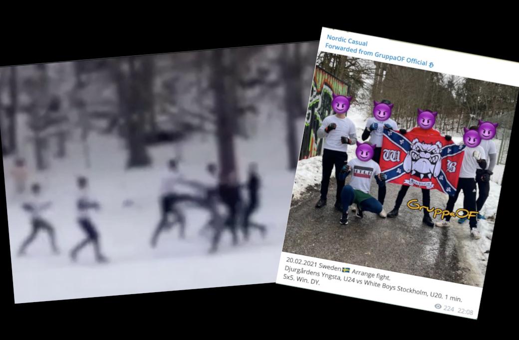 White Boys mötte fotbollsfirman Djurgårdens Yngsta i ett blodigt slagsmål.