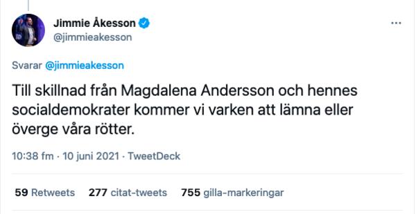 Jimmie Åkesson Twitter 210610