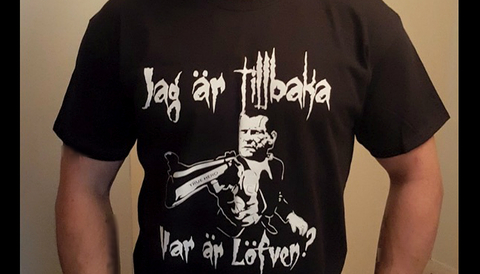 Tröja med hot mot statsminister Stefan Löfven.