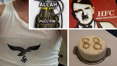 Material som fällts för hets mot folkgrupp. Bilder som hyllar nazismen och hetsar mot muslimer.
