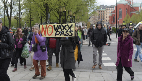 Coronaprotest i Stockholm.