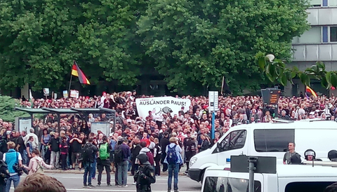 Högerextrema demonstrationer i Chemnitz.