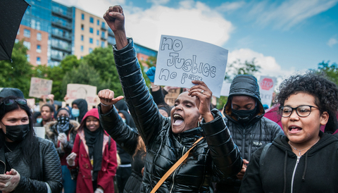 Black lives matter-demonstration i Sheffield, England 2020