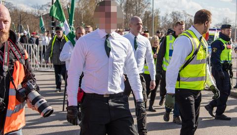 Nordiska motståndsrörelsen, våld mot tjänsteman, förstamajdemonstration Borlänge 2016