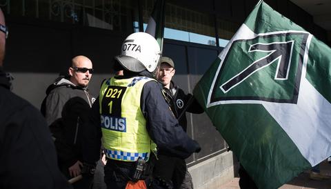 Nordiska motståndsrörelsens ledare Simon Lindberg.